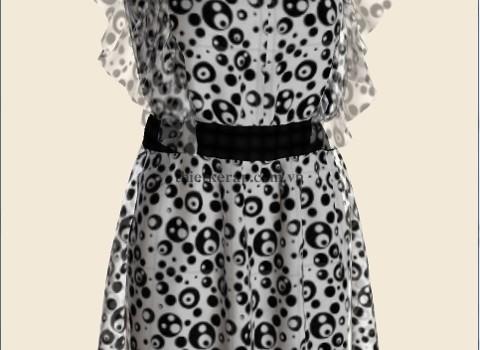 váy 3d hai lớp von trắng phối bi đen