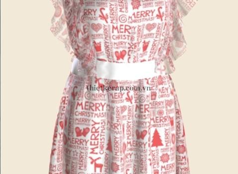váy 3d hai lớp von trắng in chữ