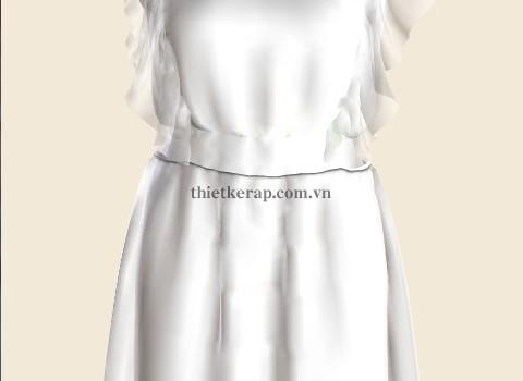 váy 3d hai lớp von trắng phối chân xanh