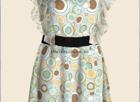váy 3d hai lớp von trắng phối bong bóng
