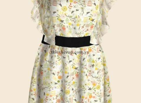 váy 3d hai lớp von trắng phối bông vàng