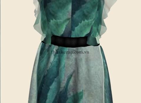 váy 3d hai lớp von xanh đá phối xám