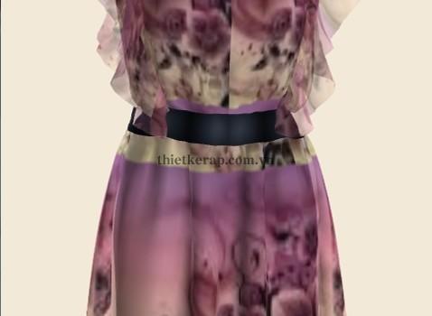 váy 3d hai lớp von tím nhạt phối da