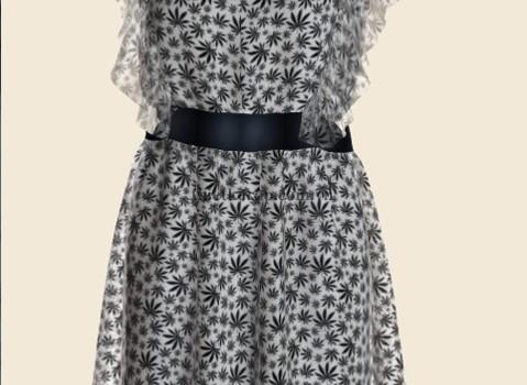 váy 3d hai lớp von trắng phối bông đen