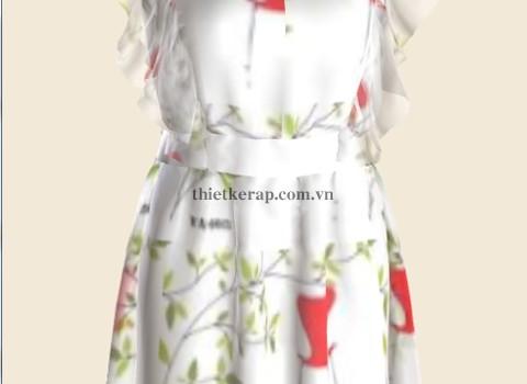 váy 3d hai lớp von trắng phối hoa văn